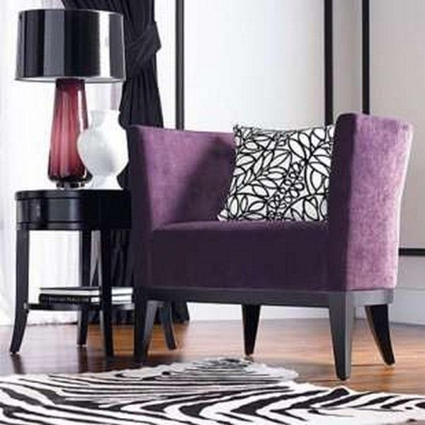 High Quality Purple Print Accent Chair