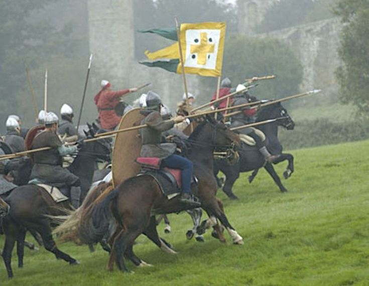 The knights of the Norman heavy cavalry, under Duke William the Conquerer, charge the English Army at the height of the Battle of Hastings.