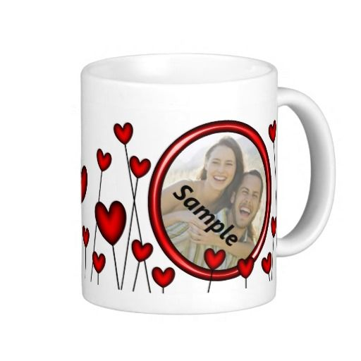 Valentines Day Heart Flower Frame Picture Photo - This Valentines Day photo mug has lots of hearts as flowers or hearts on sticks or fine wire in the background with a shiny red frame in which to place a picture of your boyfriend, girlfriend, husband or wife. This would make a special and personal gift!