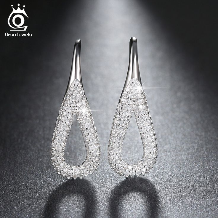 ORSA JEWELS Platinum Plated Water Drop Silver Earrings with Shiny 3A CZ Diamond for Women Girl in Fashion Drop EarringS OE146