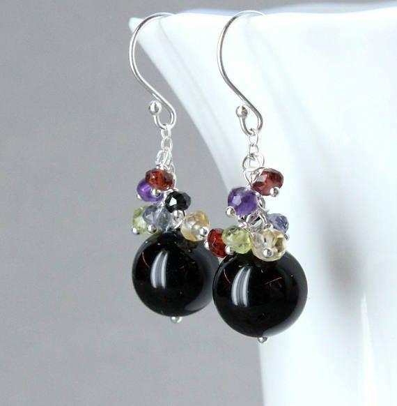 Gemstone  Cluster Earrings  Sterling Silver Onyx Earrings