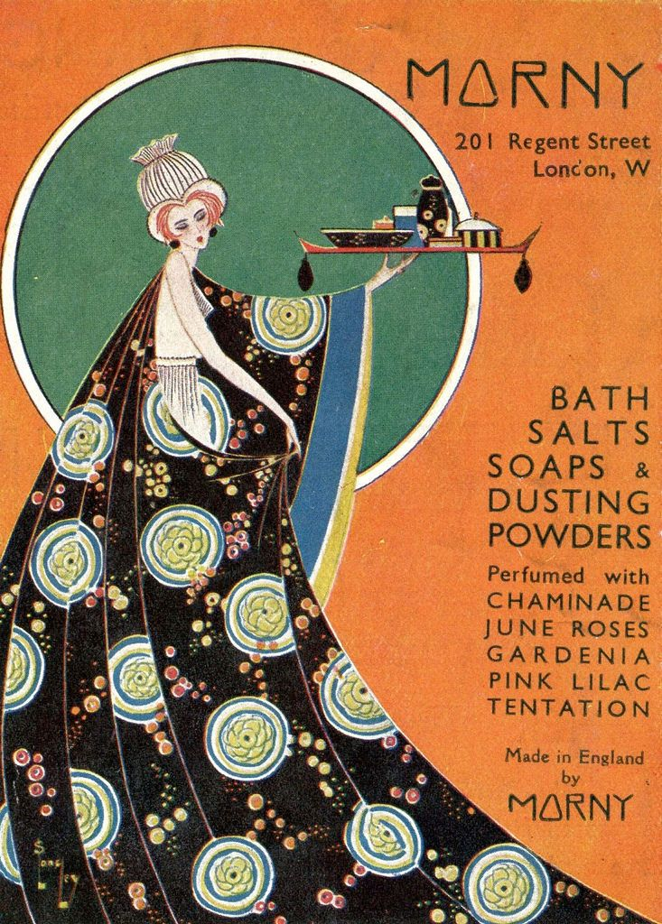 From London in 1935 an advertisement for Morny bath salts, soaps and dusting powders.