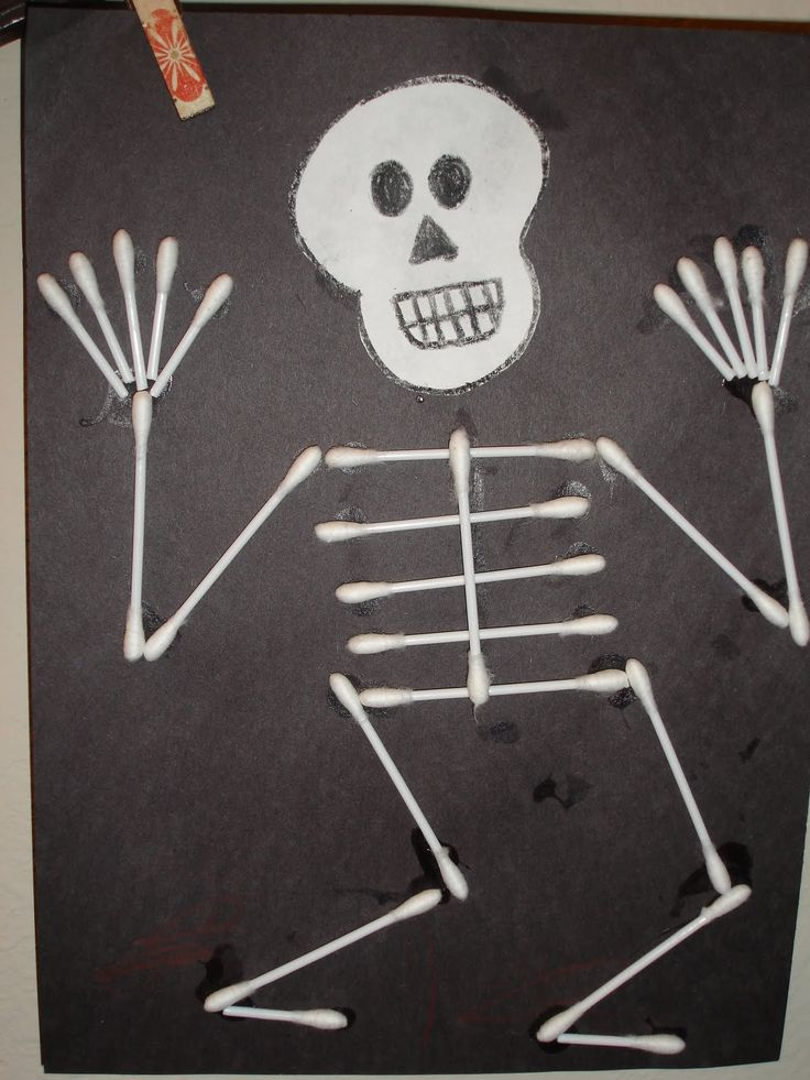 Q tip skeleton craft template for Q tip skeleton craft template