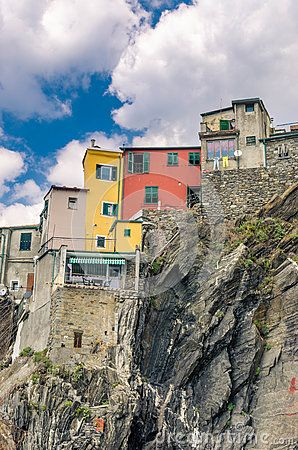 Houses on a cliff in Vernazza - Cinque Terre, Italy