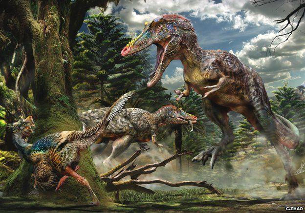 New Tyrannosaur named 'Pinocchio' Qianzhousaurus hunting a small feathered dinosaur Nankangia