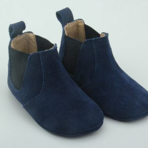 Fawn & Finch – Navy Suede Bootie-Moccasins These gorgeous baby and toddler bootiemoccasins are made from super soft cow leather, they are fully lined with leather and have an innersole that makes it super comfy for your little ones to get around in;  They really are the perfect combination of comfort and durability.  Designed by Fawn & Finch these bootiemoccasins are one of a kind; you won't find them anywhere else.  Their stretchy elastic slip on style mean that these soft-soled bootiemocc