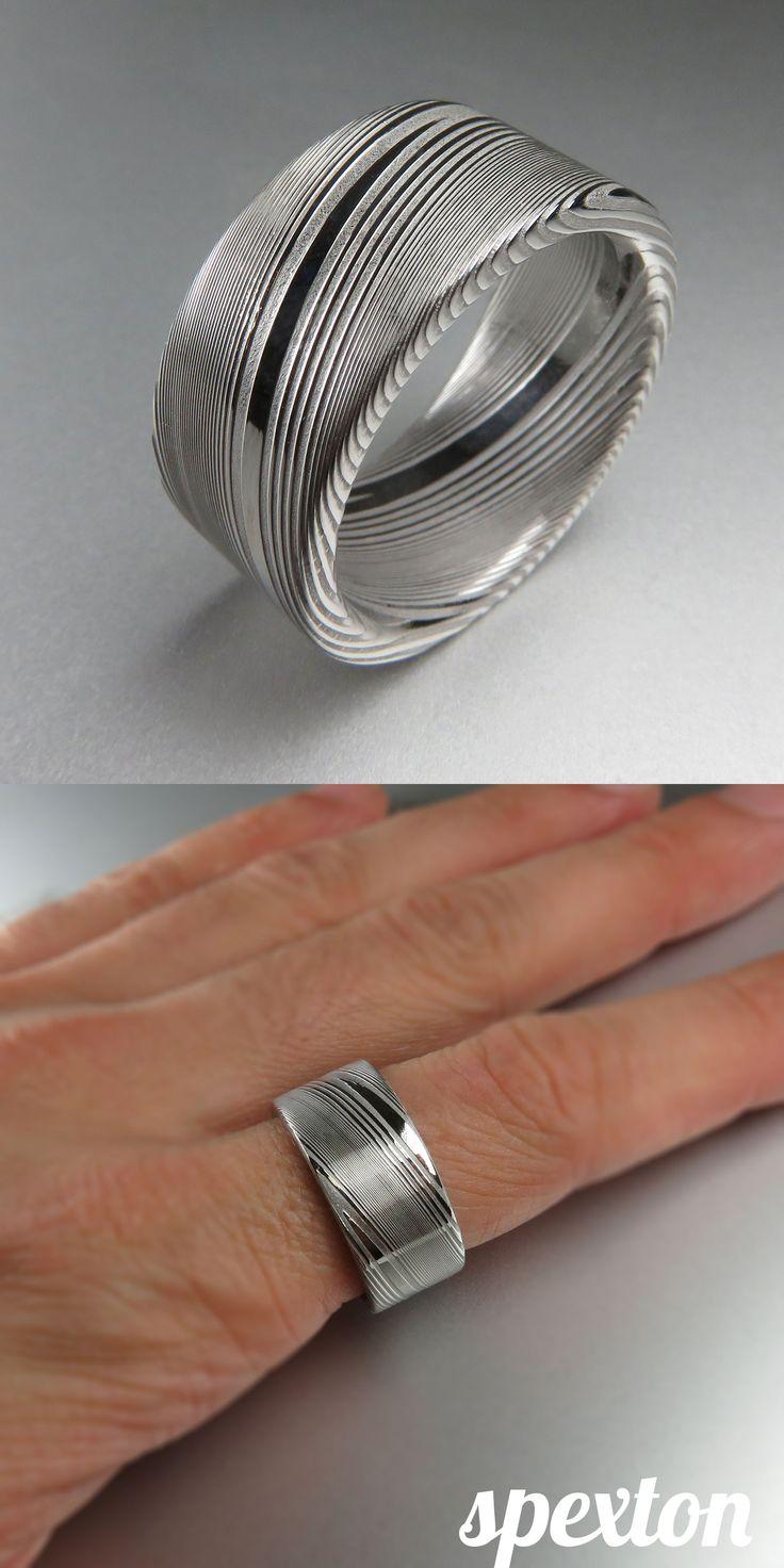 Flat Stainless Damascus Ring