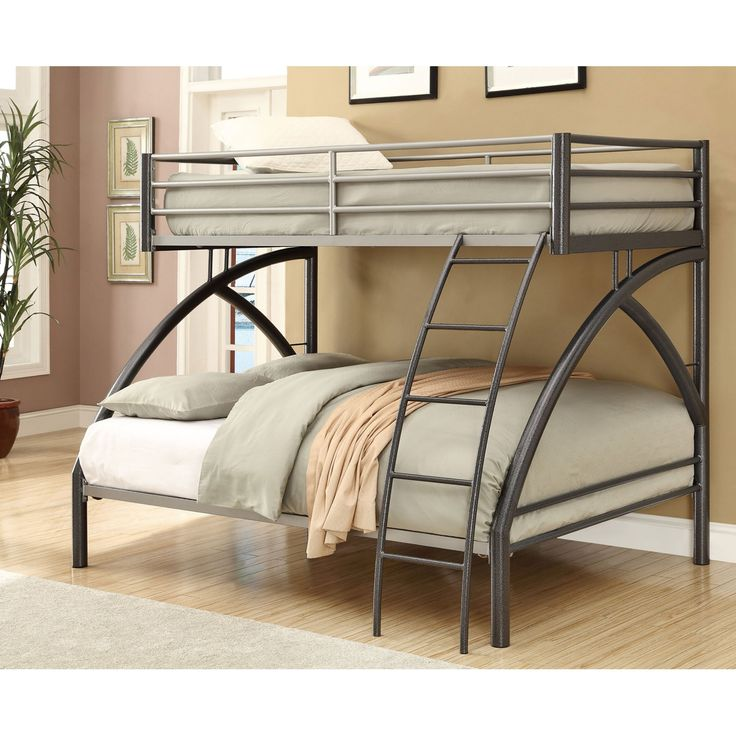 Coaster Furniture Twin over Full Contemporary Bunk Bed - Dark Gun Metal - 460079