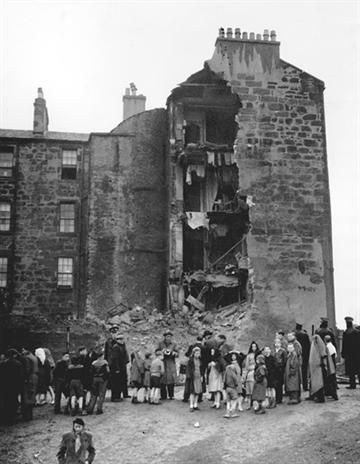 Collapsed tenement in the Gorbals . 1951