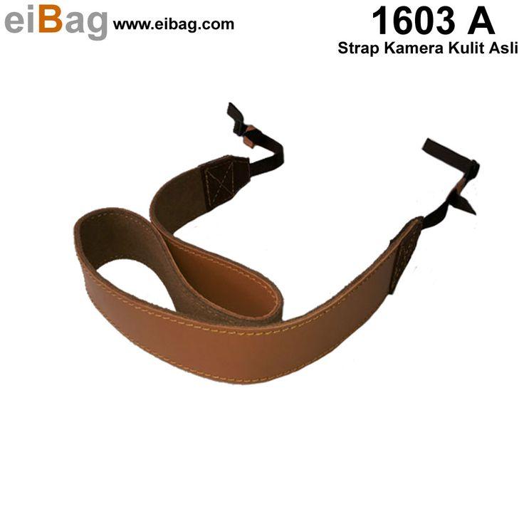Strap kamera kulit asli produk EIBAG Bandung untuk tali kamera DSLR Anda dengan kode produk EIBAG 1603 A harga murah berkualitas enak dan nyaman dipakai