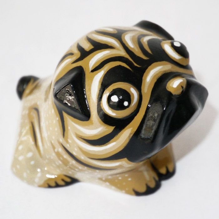 Dog Sculpture Pug Mops Carlin Sweetness, handmade painted pug figurine by…