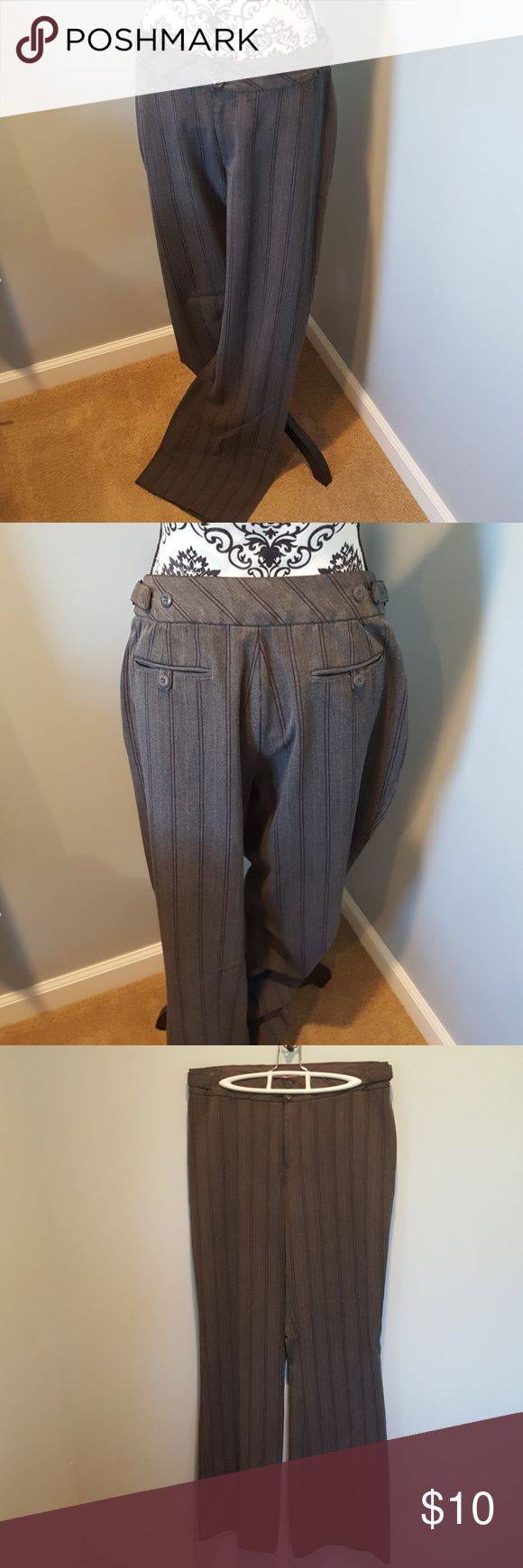 Women's dress pants Dark grey dress pants with black and pink pin stripes. Size 11/12 Maurices Pants Trousers