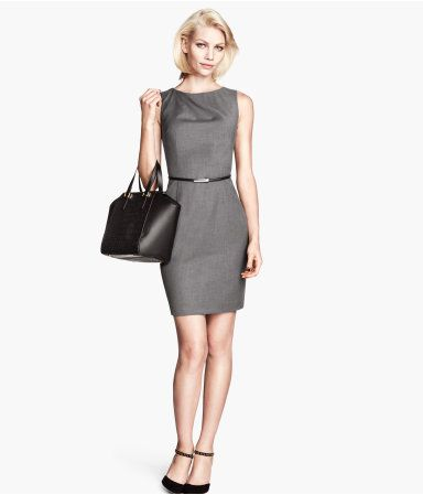 Knee-length, fitted dress in woven fabric with a draped detail at neckline. | H&M US