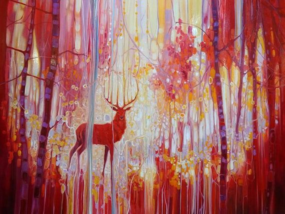 LARGE ORIGINAL Oil Painting  Red King  a red stag in a red
