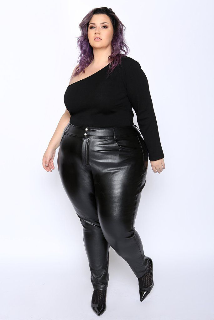 ccc3367fedbe4 Gain instant admirers in the Astra Signature Women s Plus Size Nakano Faux  Leather Leggings.