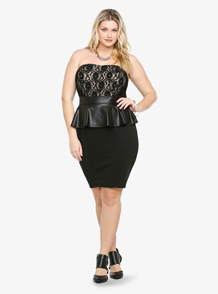 This black little number is a killer combination of two of our favorite trends: texture mixing and peplum. The strapless lace-over-nude bodice looks sweet above an edgy faux leather peplum and figure-hugging knit skirt. This is one sexy dress!