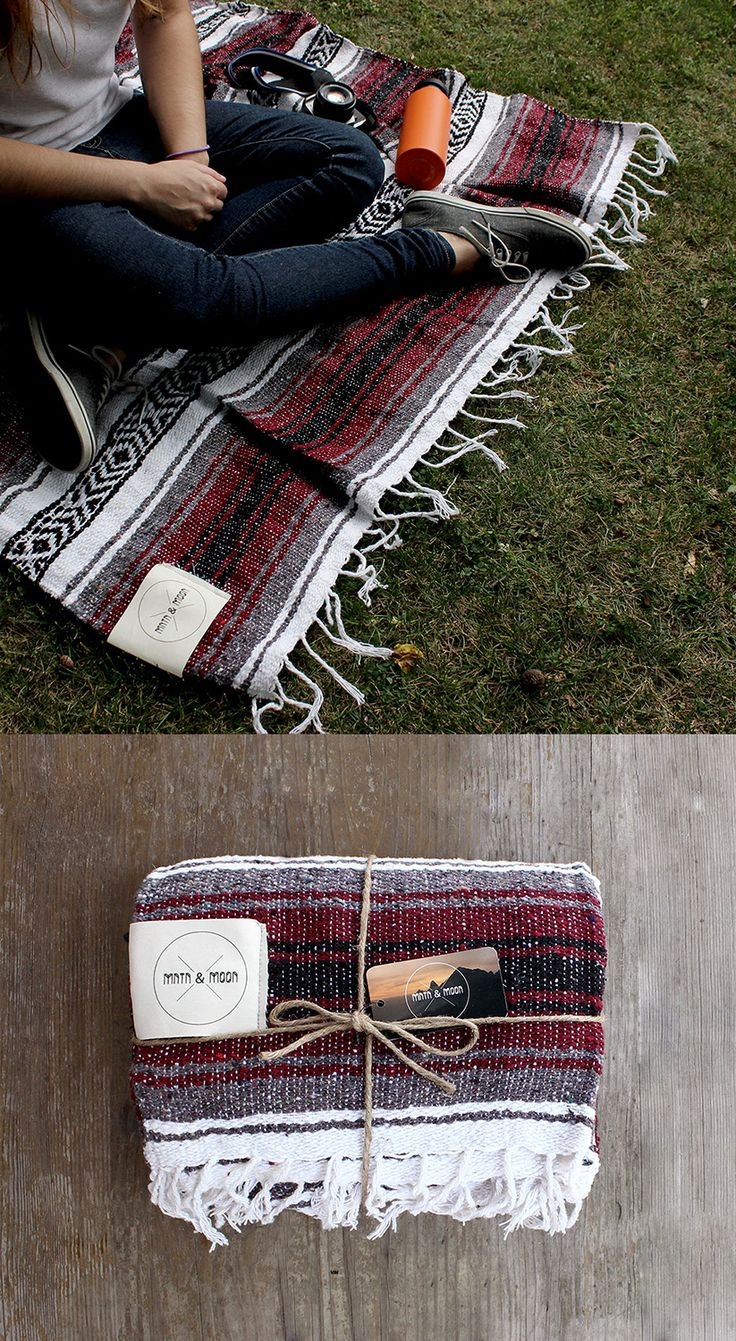 "The Vino Mexican Falsa blanket by Mntn & Moon is the perfect companion for outdoor day trips or to accent your home decor. Enjoy during your winter days, summer nights, and everything in between. | Measures: 73"" x 48"" Natural Cotton label. Wrapped in reusable twine."