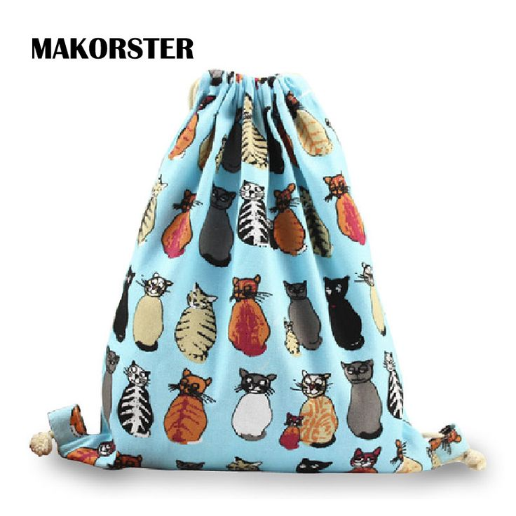 MAKORSTER Brand Fashion Women Canvas cat Drawstring Backpack Newest College Students School Girls Feminina Sack Bag DJ0119 #shoes, #jewelry, #women, #men, #hats