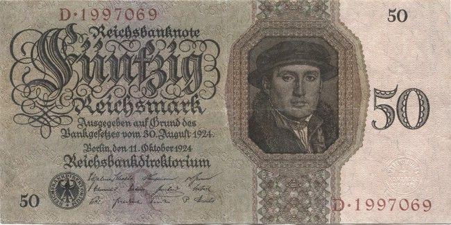 50 Reichsmark 1924 (Kaufmann Born nach Holbein) Geld