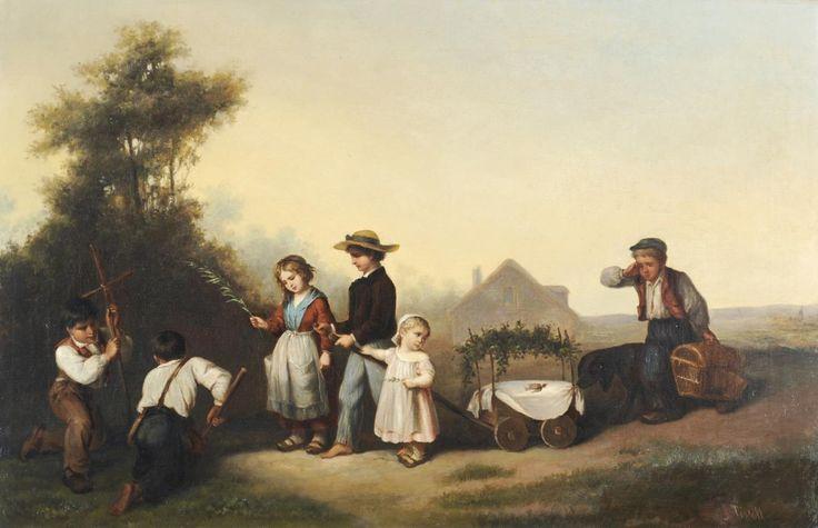 James Tissot - Les enfants qui pleurent la disparition d'une alouette