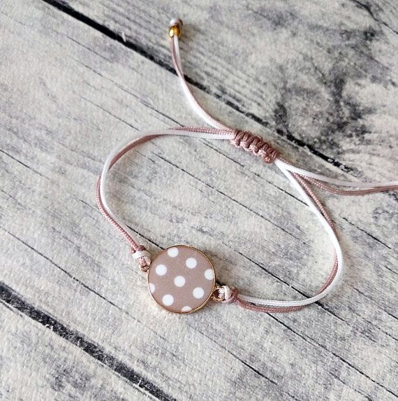 Polka dot circle charm bracelet Friendship bracelet Cute