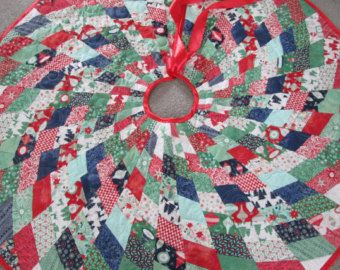 Modern Christmas Tree Skirt Quilted Tree Skirt by bellazahn