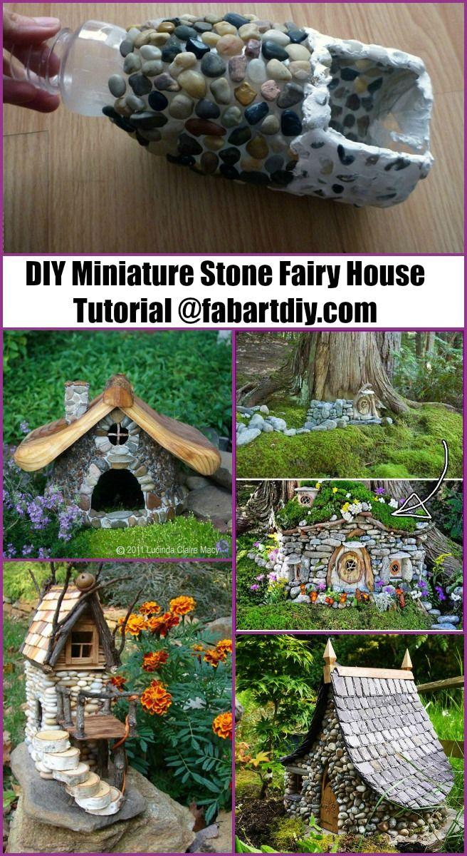 Tutorial per la casa delle fate in pietra in miniatura fai-da-te | WWW.FabArtDIY.com #Artigianato, #Giardino