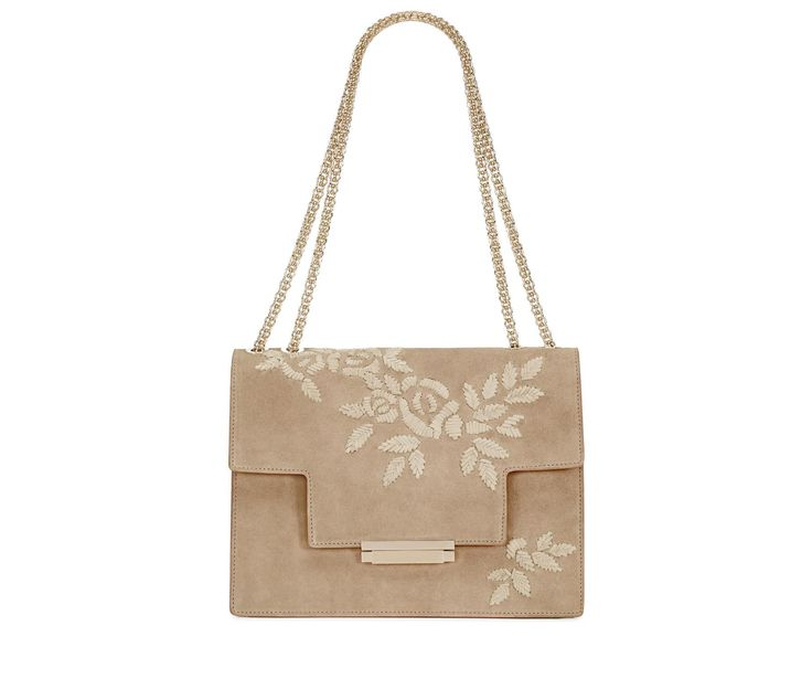 EMBROIDERED SHOULDER BAG WITH CHAIN - Aerin
