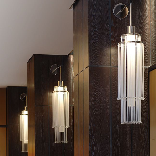 Ballroom Sconce | Clear Cytron Acrylic Rods with Round Finial | Clear Polished | Custom Made by iWorks