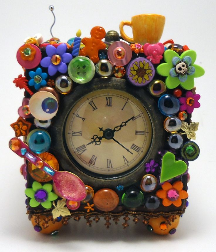 Colorful Repurposed Clock decorated with fun buttons
