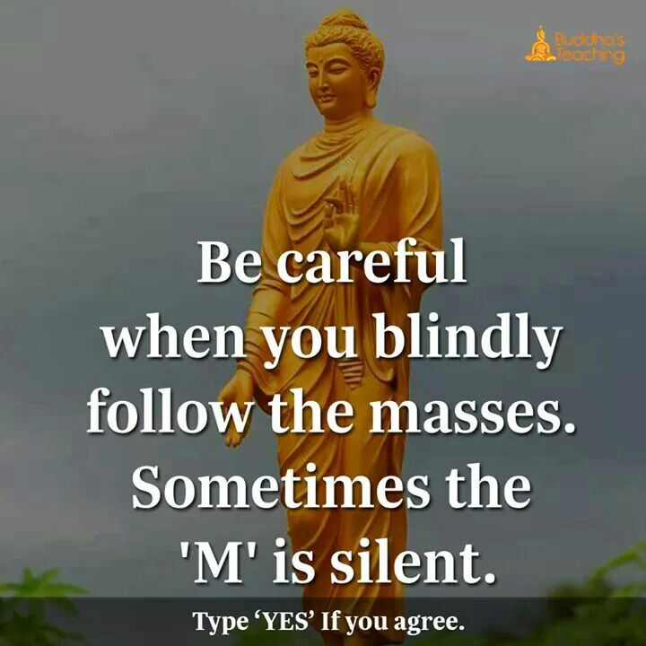 Be careful when you blindly follow the masses some times m is silent