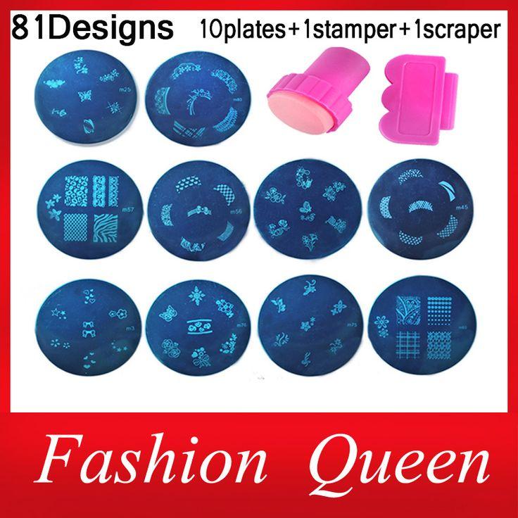 81Designs Nail At Template Set, 10pcs Konad Stamping Image Plates and Stamper Scraper,Nail Polish Stamp Manicure Nail Tools US $4.58