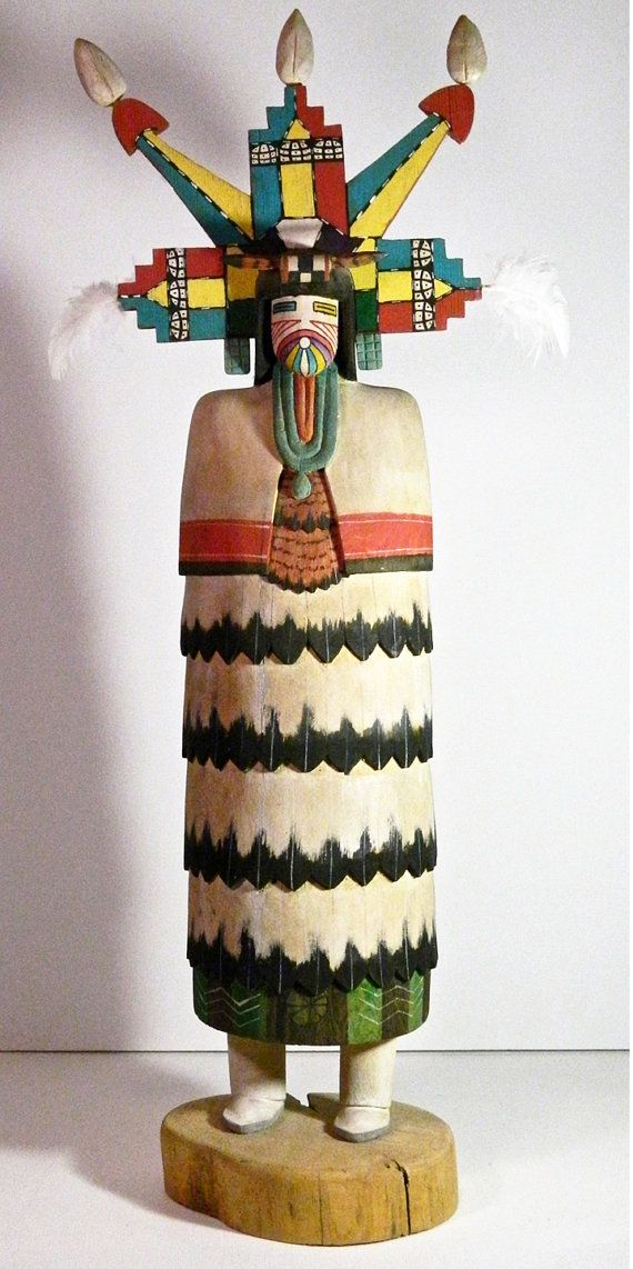"Hopi ""Butterfly Maiden"" Kachina, Hand Carved From Cottonwood Root, Signed Atson, Second Mesa"