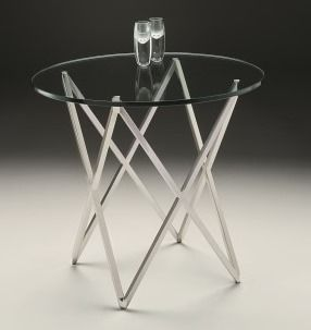 Stellar Lamp Table - Circular 12mm clear tempered glass tops supported