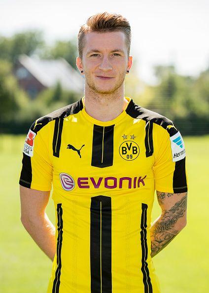 Dortmund's Marco Reus poses during the team presentation of Borussia Dortmund on August 17 2016 in Dortmund Germany