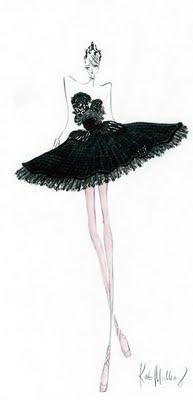 "One of Rodarte's costume sketches for ""Black Swan"""