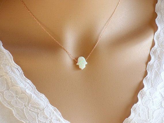 White Hamsa Necklace, White Opal Hamsa Necklace, Simple Hamsa, Gold Hamsa Necklace, Hand necklace ,White Hand Necklace ,Rose Gold .