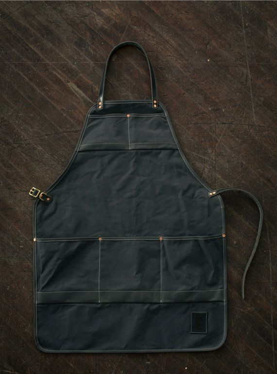 Water Resistant Canvas and Leather Apron  Grey door MercyLeatherWork, $199.00