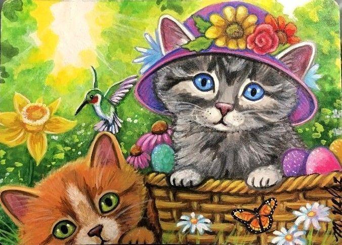 Original Raccoon Artist Cat Kittens Hummingbird Easter Butterfly Aceo Painting Art Paintings Ebay Cat Garden Cats And Kittens Raccoon