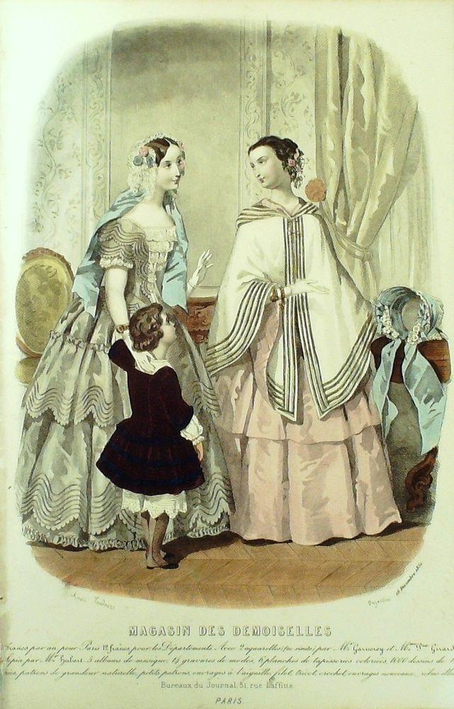 Dezember 1851  +++++++++  GRAVURE de MODE AUTHENTIQUE-X179-MAGASIN DEMOISELLES-ROBES DE VELOURS-1850