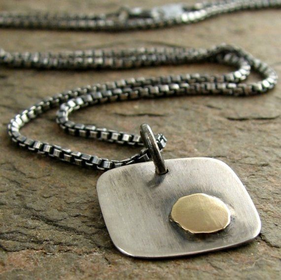 Modern Sterling Silver Solid 14k Gold Mens Necklace by organikx, $79.00