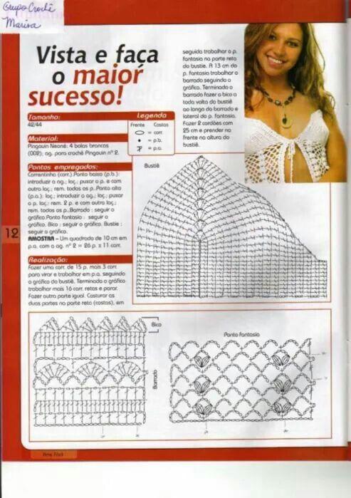 116 best vestido de baño y salidas images on Pinterest | Crochet ...
