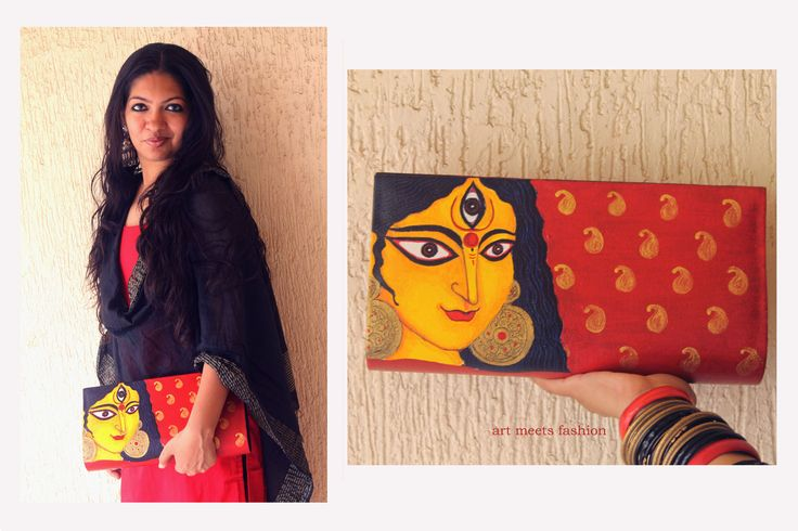 https://www.facebook.com/bagsbyartmeetsfashion  #art #fashion #artmeetsfashion #handpainted #arty #bags #boxclutch #maadurga #durga #indiangods