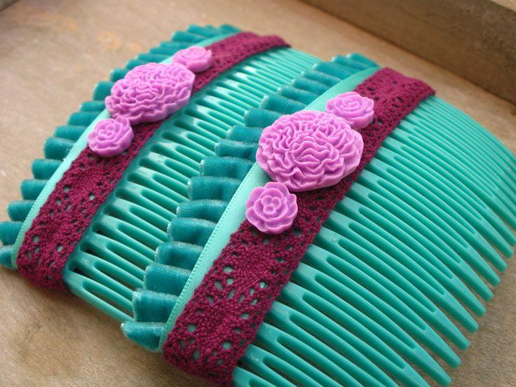 Peignes turquoise et violet (taille grande) : Accessoires coiffure par piola