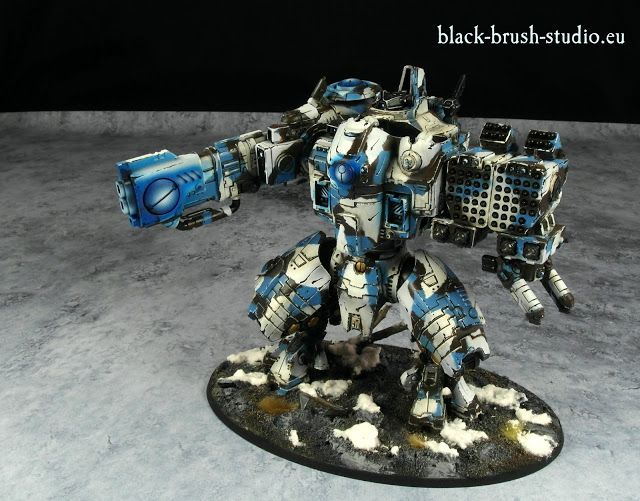 Black Brush Studio - Miniature painting services: Tau Empire: Converted KV128 Stormsurge  in Winter Camo Scheme