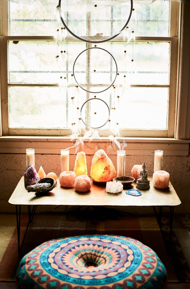 You can sit with us. #relax #meditate #saltstonelamp #dreamcatcher #pouf #homedecor #EBhome #earthboundtrading