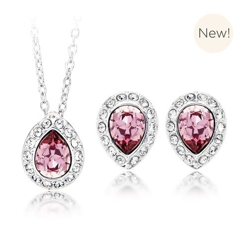Christie Pear Pendant & Earrings Set with Antique Pink Swarovski® Crystals