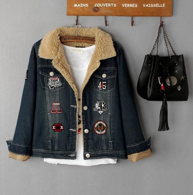 Womens Chic Retro Washed Blue Thicken Denim Jean Jacket Warm Fur Lined Coat