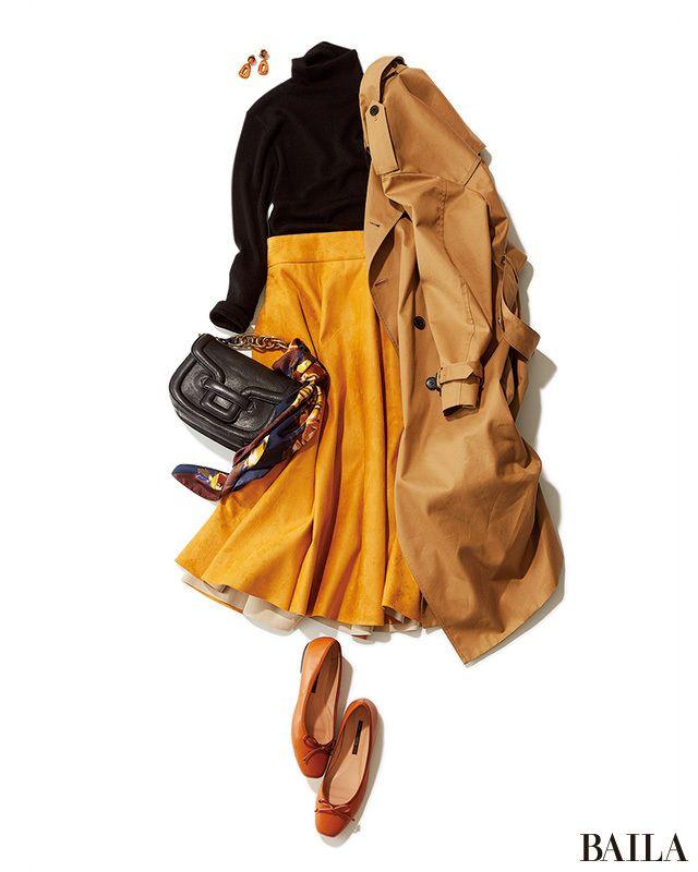 冬の定番黒タートルニットにフレアスカートを合わせるなら、今季はビビットカラーを取り入れて鮮度を上げて。チアフルなイエローなら、甘くならず華やかなムードになります。合わせるアウターはベージュのトレンチを。温かみのあるイエローとベージュのカラーミックスが、さらに着こなしの鮮度を上げて・・・