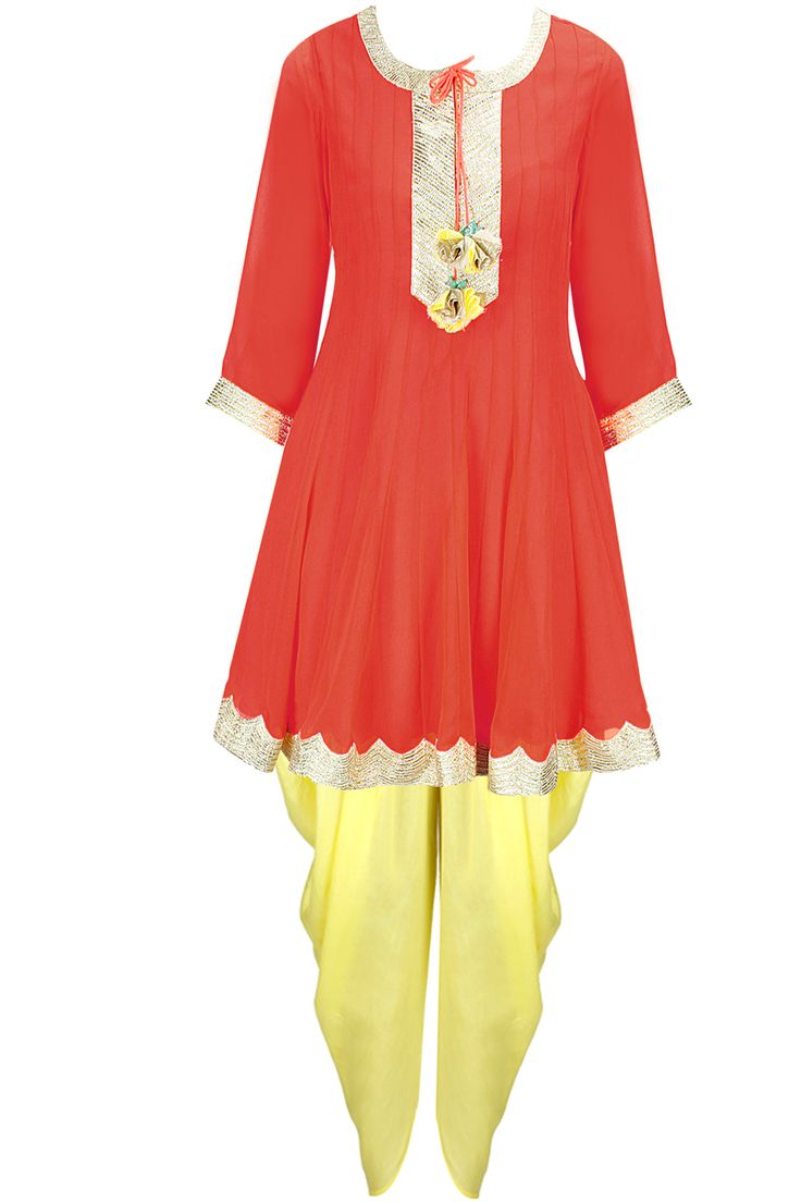 Neon coral gota embroidered anarkali set with yellow embroidered dupatta available only at Pernia's Pop-Up Shop.